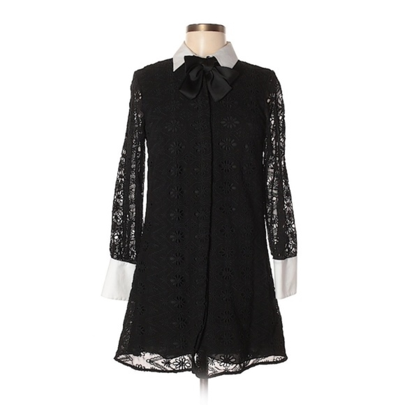 ZARA Dresses & Skirts - ZARA Black Lace Dress w/White Collar and Cuffs/M